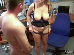German MILF seduce his new worker to Fuck on Work