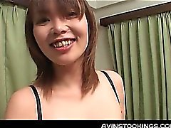 Teen jap cutie flashing perky tits gets hairy beaver licked