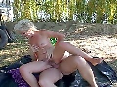 Horny grandma fucked in the woods after sucking hard cock