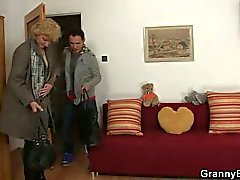 Blonde granny jumps on young cock