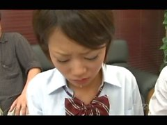 Cute asian schoolgirl's blowbang