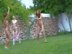 spanish chicks watersports in the garden