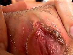 June gapes her vagina wide open with her fingers, and works
