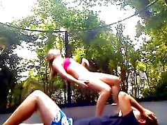 Teen trampoline creampie