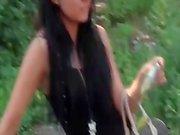 young european slut shows tits in public pickup