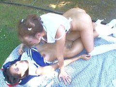 Hot brunette lesbo sits in her girls friend's face making her eat pussy