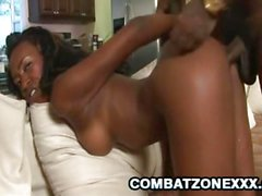 Teen Ebony babe Royce Rae gets her pussy drilled