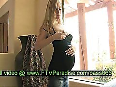 Leah tender superb pregnant blonde babe in the house
