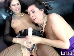 Brit les milf riding strapon reversecowgirl