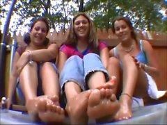 Lexi, Leah & Rebecca show their dirty feet oiled
