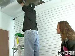 Young Crissy Moon gives two handed handjob
