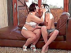 Granny and cute teen brunette making love