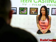 Inked teen hardfucked by casting director
