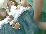 Two innocent Schoolgirls groped in a Bus