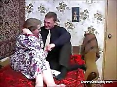 Russian Granny Gets Fucked by Big Young Stud