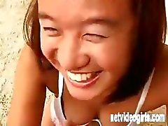 Asian girl Jade in a calendar audition poses and eats cock