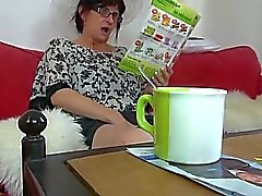 Blonde girl and her boyfriend visited mature granny