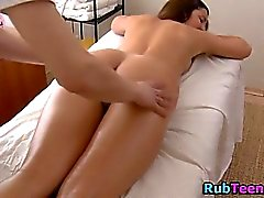 Massage babe fingered and teased