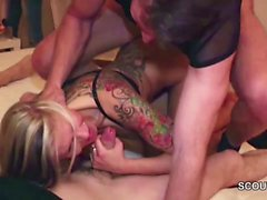 Hot German Teen in Hardcore Gangbang with Stranger