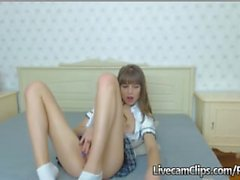 Amateur Cam Horny Brunette Teen Girl In School Uniform