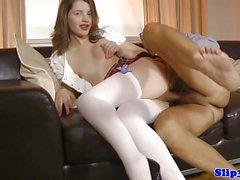 High heeled euro schoolgirl rides cock
