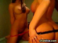 Big tit blonde MILF and teen lesbian