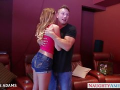 Cutie in pink top Alexis Adams gets facialized