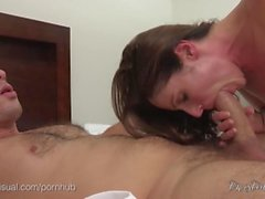 Brunette Slut Fucks and Swallows Cum