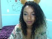 Ebony teen masturbate with cucumber
