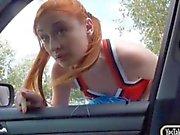 Redhead cheerleader Eva Berger pussy fucked in the car