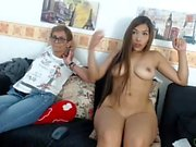 Hot young asian sucking on webcam