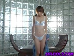 Jun Nada sexy Asian teen in pigtails exposes pussy for masturbation