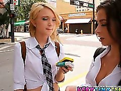Ultra hot lesbian schoolgirl teens Dakota Skye and Adrinna Lynn make out