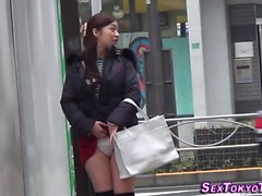 Asian teens flash outside