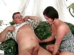Old fat man fucking sexy chubby brunette