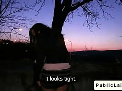 Fake agent fucks amateur girl outdoors at night
