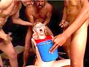 Young blonde slut is gangbanged by rough guys