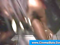 Black ho in group fuck sucking cock