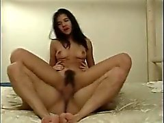 Teen with a super hairy pussy on top of cock
