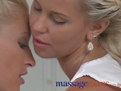 Massage Rooms Young girls give oily hand jobs before getting pounded