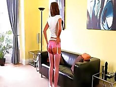 Pink pantyhose finger on the leather