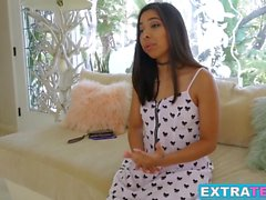 Petite teen Jasmine Summers takes a wild ride on a big dick