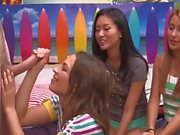 Three young girls jerking a boner