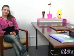 Lusty teen gets to strip and masturbate
