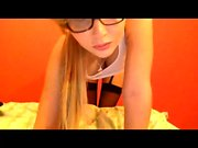 Blonde teen in stockings samora storm solo playing