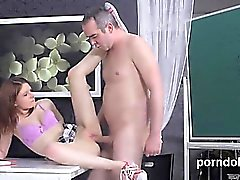 Cute schoolgirl gets seduced and poked by her elderly instru