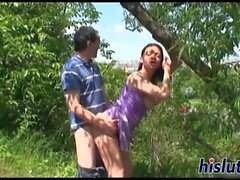 Foxy brunette honey gets plowed outdoors