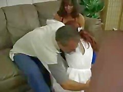 Mature Couple Spanking hard Redhead Teen s Ass On Couch.F70