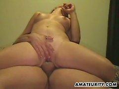 Voluptuous girlfriend cumming hard on lover's cock