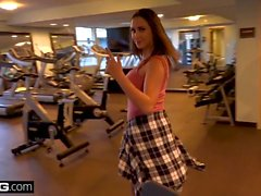 Teen Ashley Adams fucks in a public gym